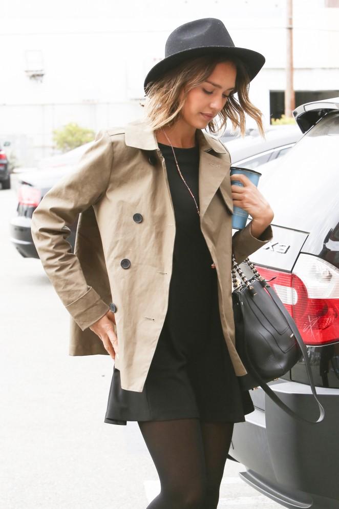 Jessica Alba in Short Black Dress -01