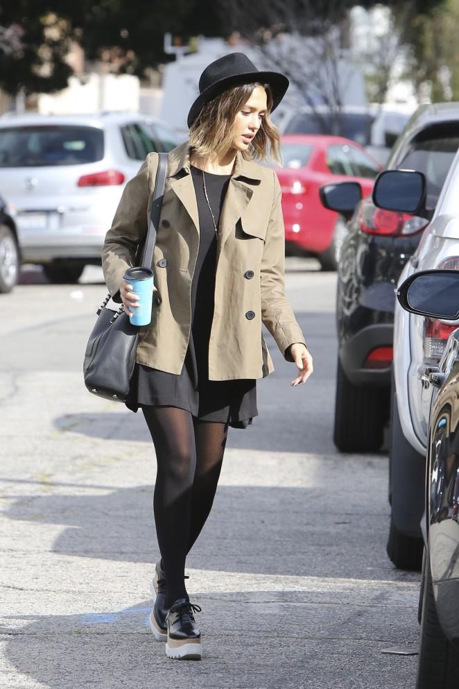 Jessica Alba in Short Black Dress -06