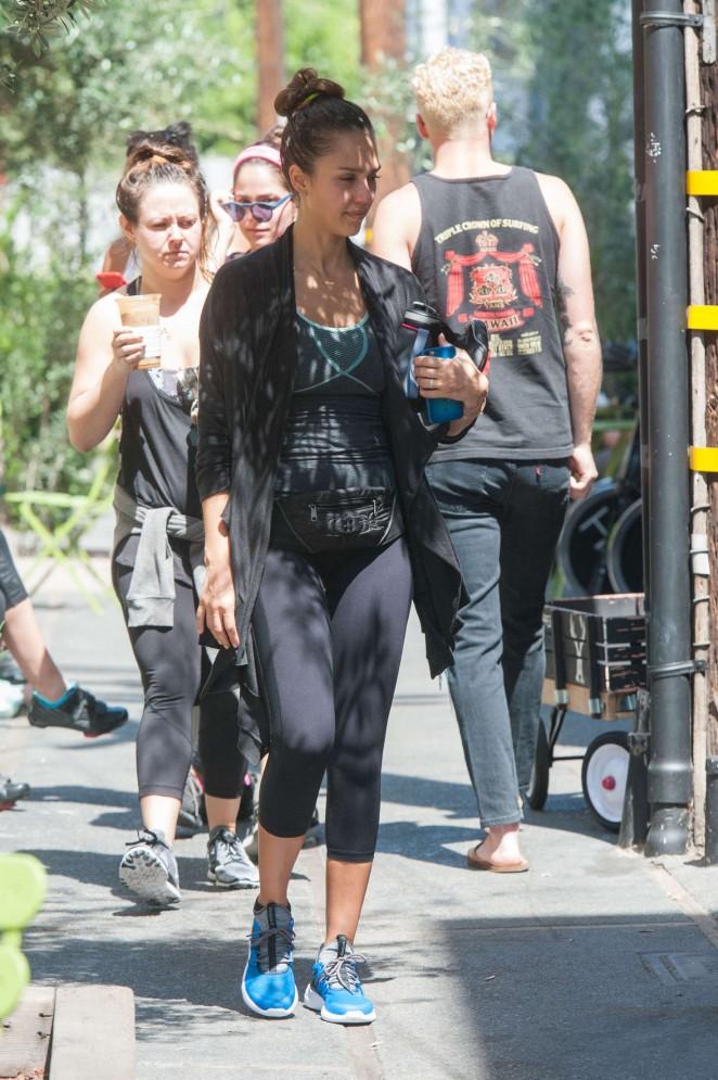 Jessica Alba in Spandex at the gym in LA