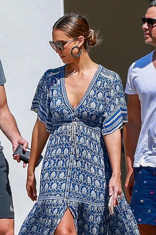 Jessica Alba in Summer Blue Dress - Shopping in LA