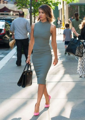 Jessica Alba in Tight Dress out in New York