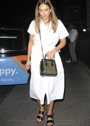 Jessica Alba in White Dress - Out in London