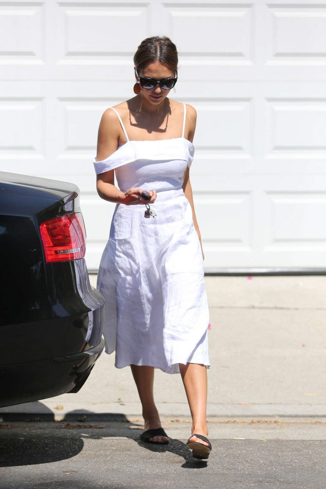 Jessica Alba in White Dress out in Los Angeles