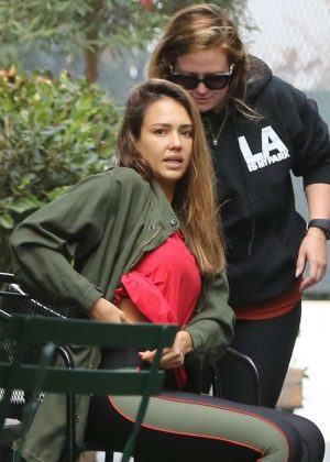 Jessica Alba - Leaves a spin class in Los Angeles