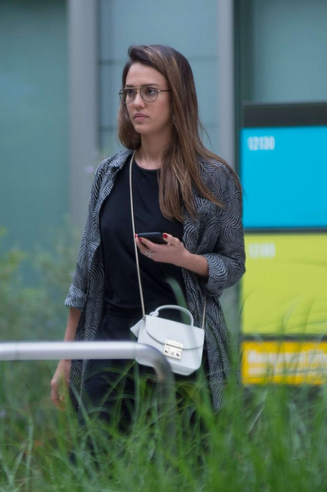 Jessica Alba-Leaving an office building in Los Angeles