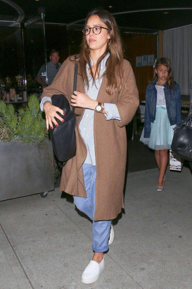 Jessica Alba - Leaving Katsuya Restaurant in Hollywood