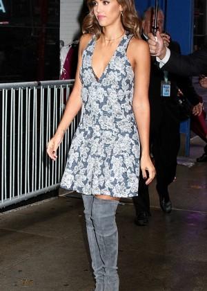 Jessica Alba in Mini Dress Leaving TV Studio in NYC