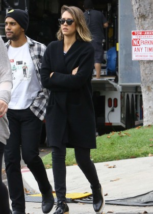 Jessica Alba in Black Sweater ans Jeans Out in LA