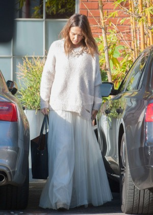 Jessica Alba in Long White Dress out in Los Angeles