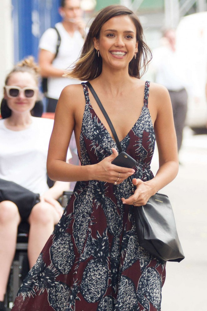 Jessica Alba in Long Dress Out in Soho