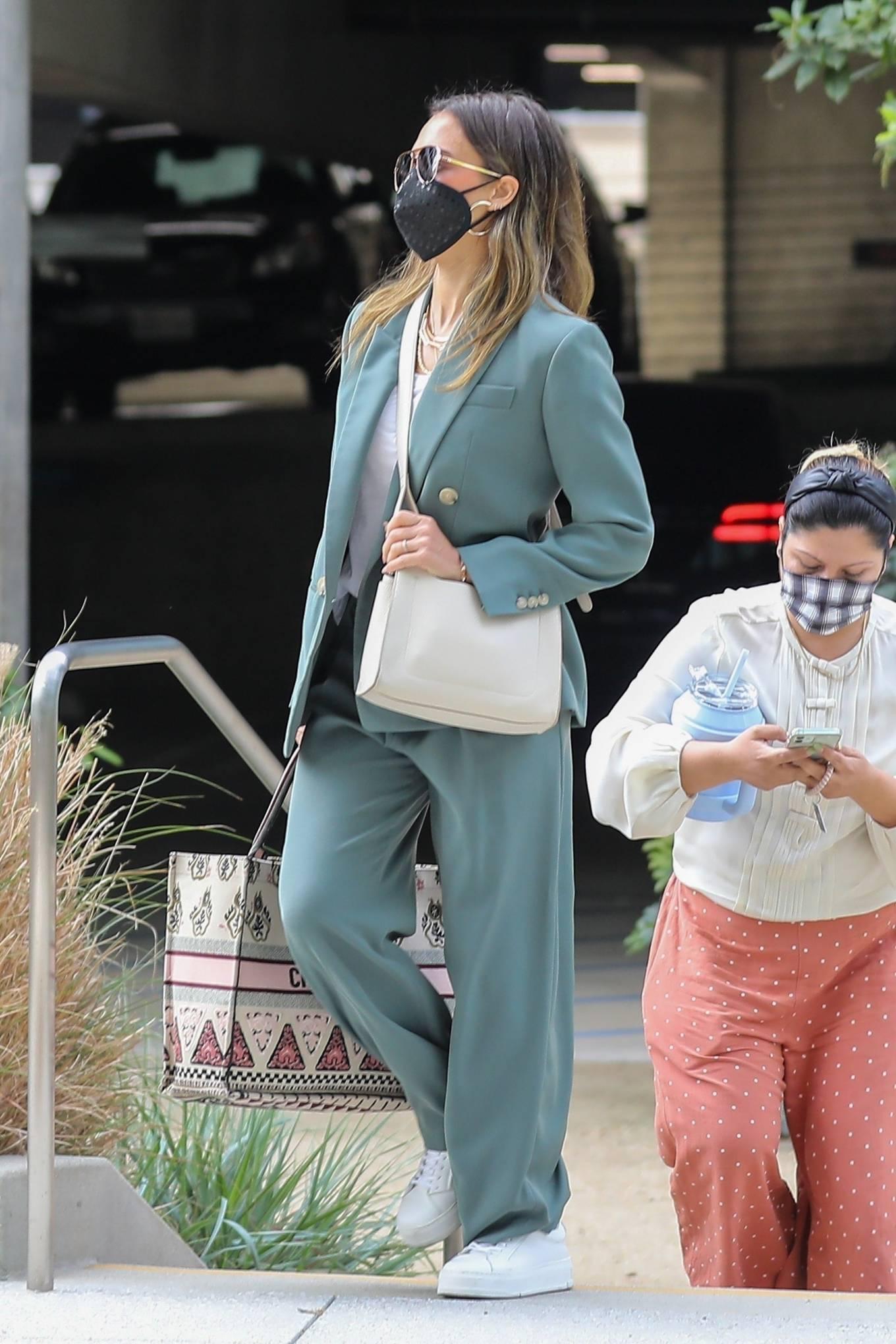 Jessica Alba 2021 : Jessica Alba – Out in a classy suit in Playa Vista-03