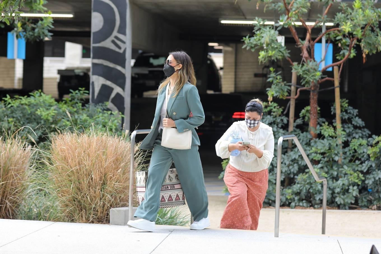 Jessica Alba 2021 : Jessica Alba – Out in a classy suit in Playa Vista-05