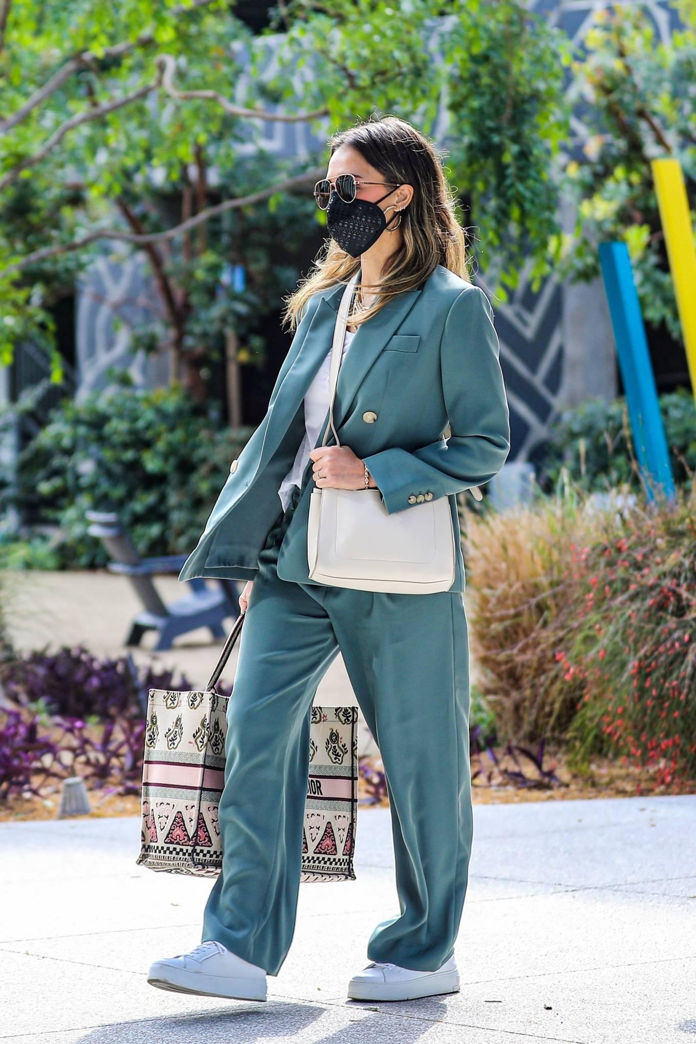 Jessica Alba 2021 : Jessica Alba – Out in a classy suit in Playa Vista-08