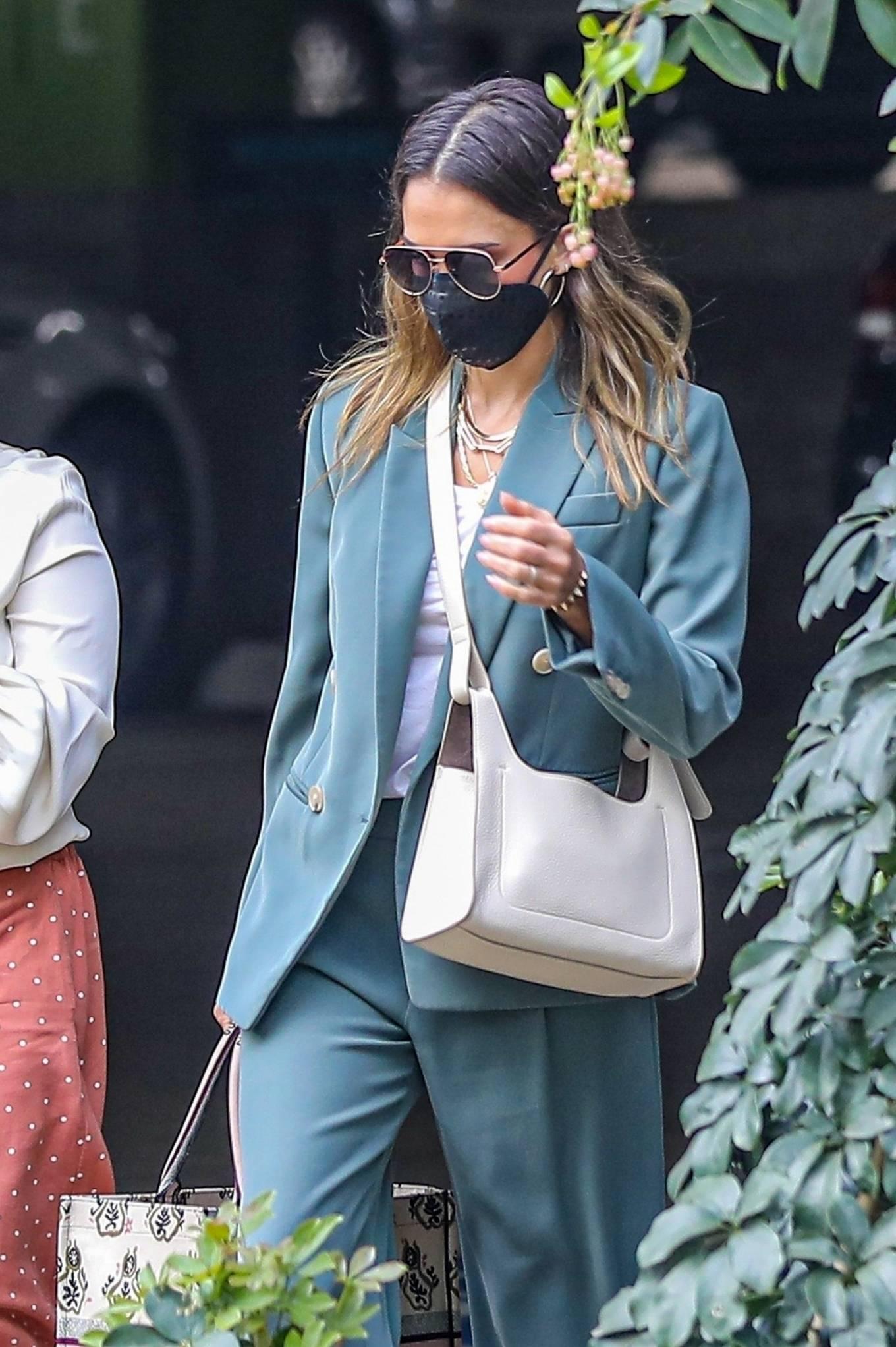 Jessica Alba 2021 : Jessica Alba – Out in a classy suit in Playa Vista-12