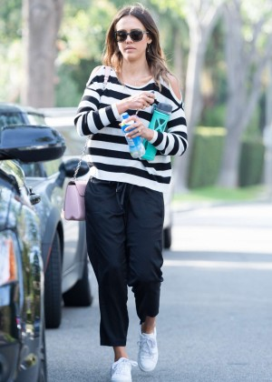 Jessica Alba with her family out in Beverly Hills