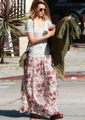 Jessica Alba in Long Skirt out in LA