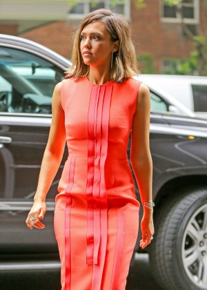 Jessica Alba in Red Dress out in New York City