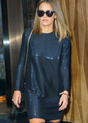 Jessica Alba in Mini Dress out in NYC