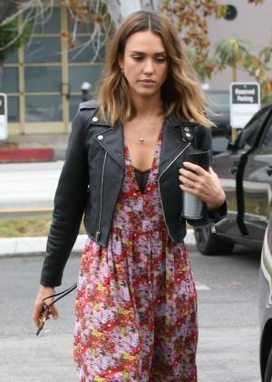 Jessica Alba in Long Dress out in Santa Monica
