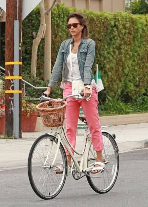Jessica Alba: Riding her bike -17