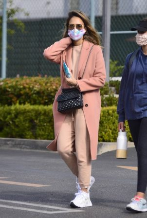 Jessica Alba - Seen while leaving a tennis lesson in Los Angeles