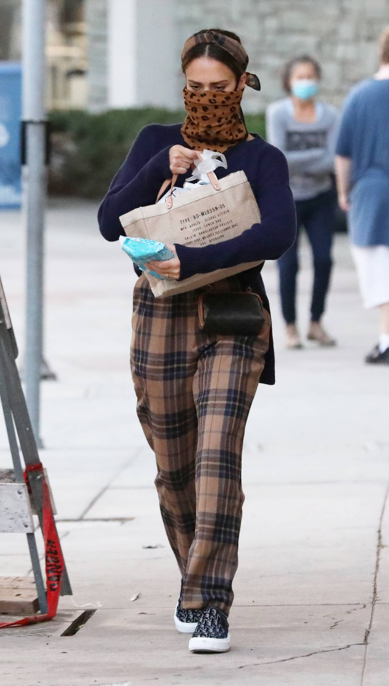 Jessica Alba - Wearing Burberry plaid type pants in Los Angeles