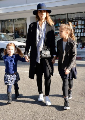 Jessica Alba with her daughters shopping in Beverly Hills