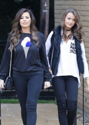 Jessica and Natalya Wright Leaving Her Apartment in London