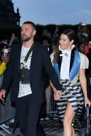 Jessica Biel and Justin Timberlake - Arrives at Louis Vuitton SS 20020 Paris Fashion Show