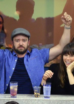 Jessica Biel and Justin Timberlake at Arthur Ashe Stadium in New York City