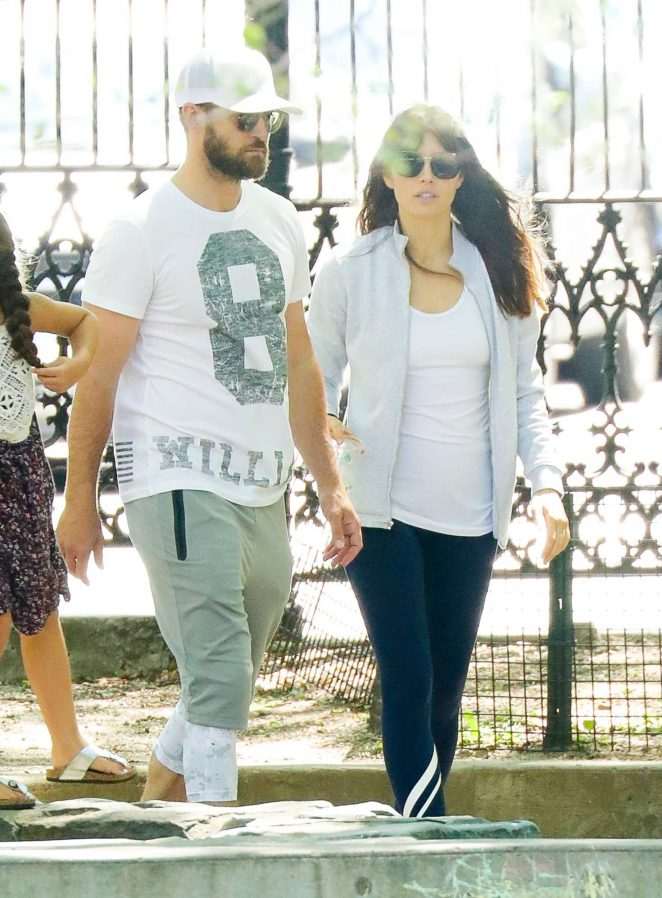 Jessica Biel and Justin Timberlake in a playground in Tribeca