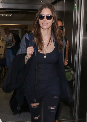 Jessica Biel in Ripped Jeans at LAX Airport in LA