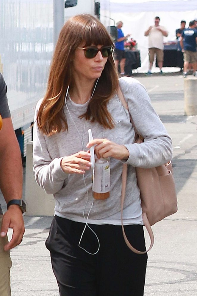 Jessica Biel arrives on the set of 'The Sinner' in New York