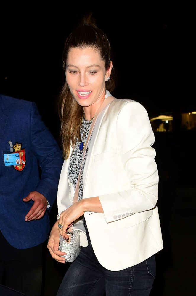 Jessica Biel - Arriving at Annabel's private members club in Mayfair