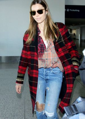 Jessica Biel at LAX International Airport in LA
