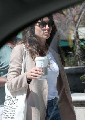 Jessica Biel at Starbucks in Santa Monica