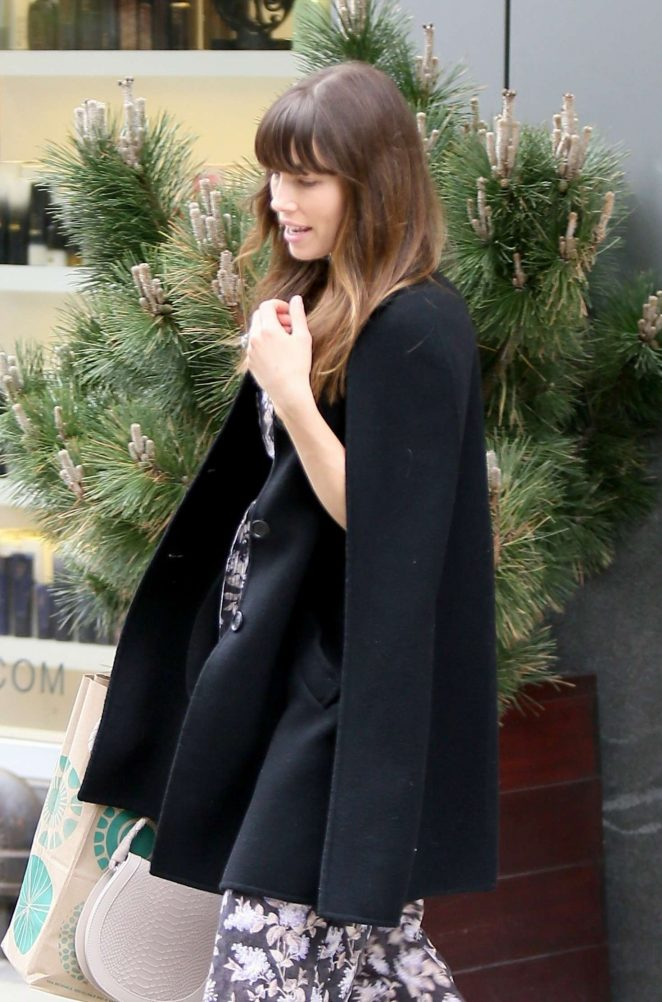 Jessica Biel exiting her home in New York