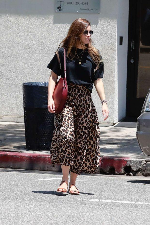 Jessica Biel in Animal Print Skirt-01