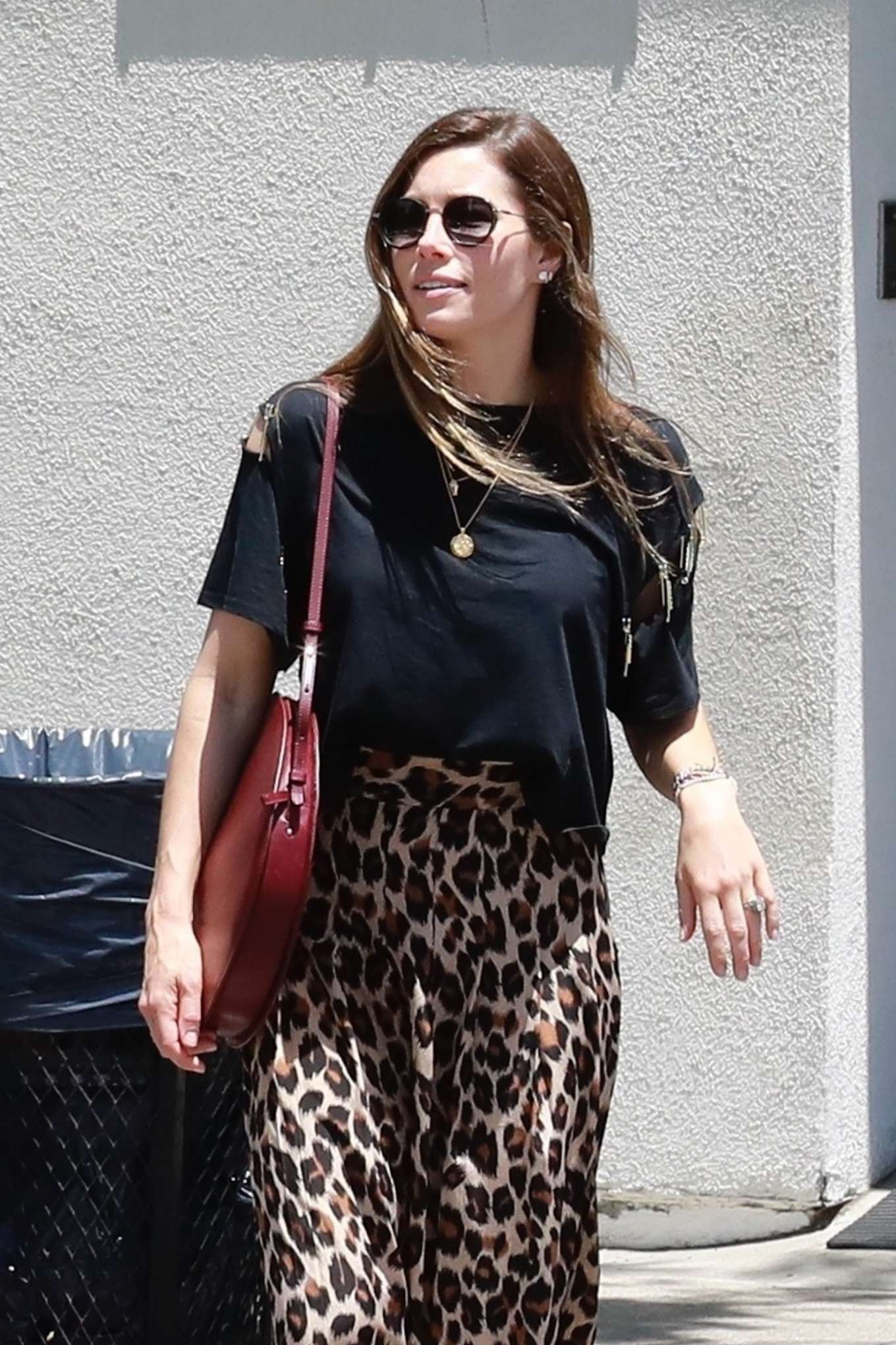 Jessica Biel in Animal Print Skirt - Out for coffee in Studio City