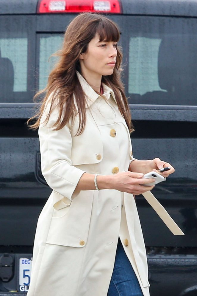 Jessica Biel in Beige Coat out in Los Angeles