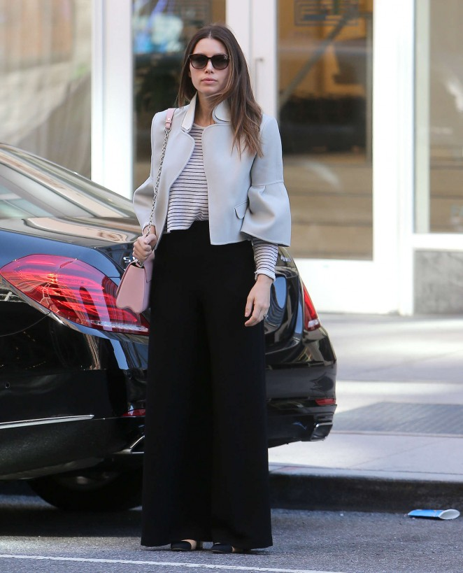 Jessica Biel in Black Pants Out in Soho