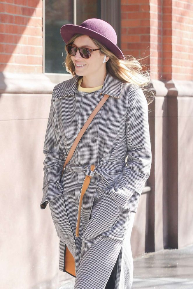 Jessica Biel in Long Coat and Hat - Out in New York