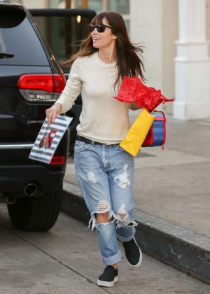 Jessica Biel in Ripped Jeans Leaves Au Fudge in West Hollywood