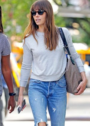 Jessica Biel in Ripped Jeans out in NY