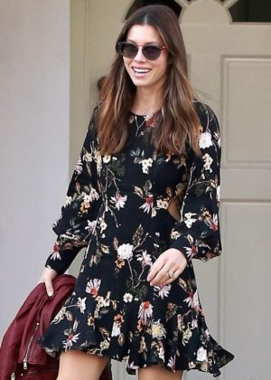 Jessica Biel in Short Dress at The Farm in Beverly Hills
