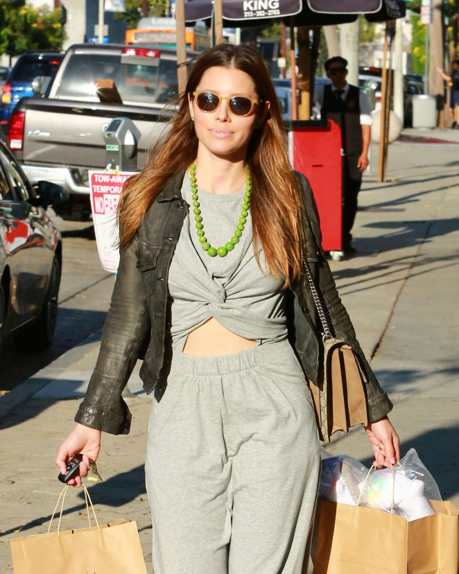 Jessica Biel Leaving Au Fudge Restaurant in Beverly Hills