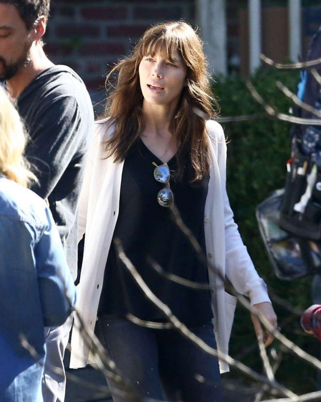 Jessica Biel on the set of 'The Sinner' in Charleston
