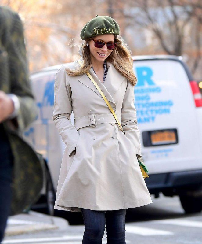 Jessica Biel - Wearing a green beret in Tribeca