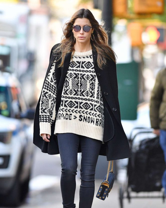 Jessica Biel - Wears a beige sweater in New York City