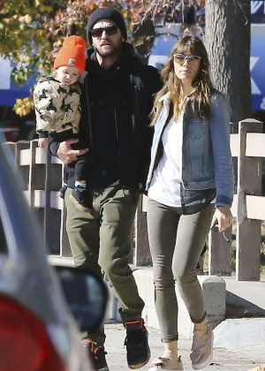 Jessica Biel with her family out in Los Angeles